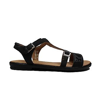 Ricosta Bella 7020800-091 Black Diamond Leather Girls T Bar Sandals