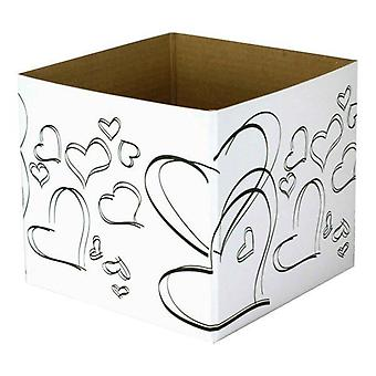 Small Posy Box White/black Hearts (13x13x11cm)