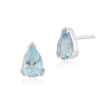 Classic Pear Aquamarine Stud Earrings in 9ct White Gold 6.5x4mm 26880