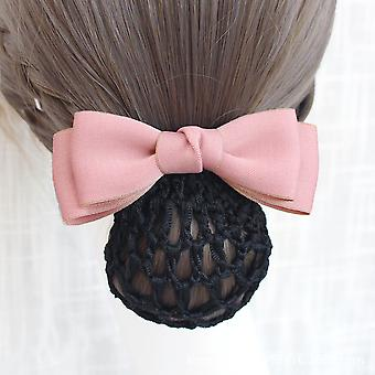 Women Hair Clips Hair Bowknot Net Bun Snood Work Headwear