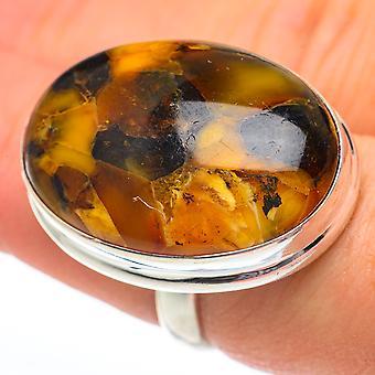 Stor amber ring størrelse 7,25 (925 Sterling Silver) - Håndlavet Boho Vintage smykker RING61482