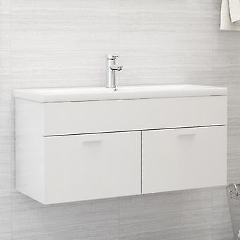 vidaXL Waschbeckenunterschrank Hochglanz-Weiß 100x38,5x46 cm Spanplatte