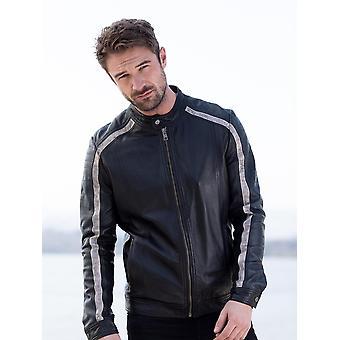 Jaqueta de motoqueiro de couro Skelton em preto