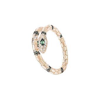 Salazar käärmerengas smaragdinvihreä rosegold