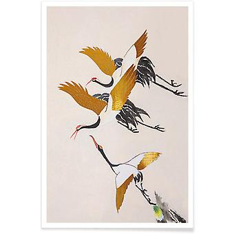 JUNIQE Print -  Gold Swooping Cranes - Kraniche Poster in Cremeweiß & Gold