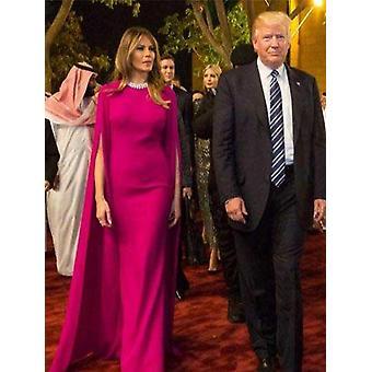 Vestidos de noite de celebridade árabe com comprimento do piso do cabo (conjunto 2)