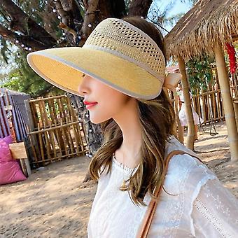New Women's Sun Hat, Bucket Cap, Top Soft Straw Caps