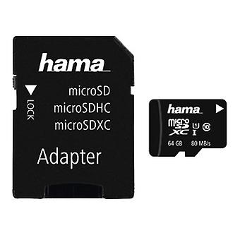 Hama microSDXC 64GB Clase 10 UHS-I 80MB/s + Adaptador/Foto