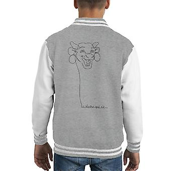 The Laughing Cow Handwritten Outline Kid's Varsity Jacket