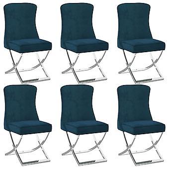 vidaXL dining chairs 6 pcs. Blue 53x52x98 cm Velvet
