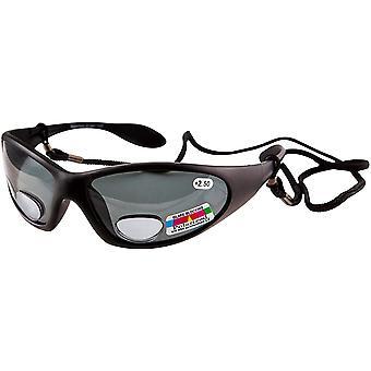 polarisierte Angelbrille UV400 Bifokalumhüllung Stärke +2,50 Angelaugen - Black Frame Grey