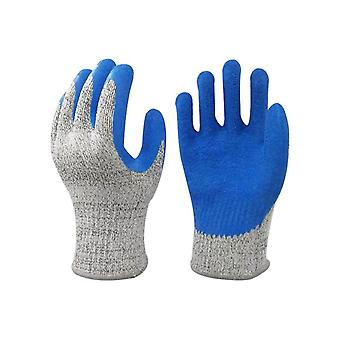Blue Latex Durable Anti Cut Gloves Thickened Potection Safety Gloves
