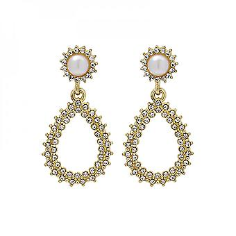 Stylish Oval Pearl Earring With Silver Needle Personality Drop And Diamond Inlay