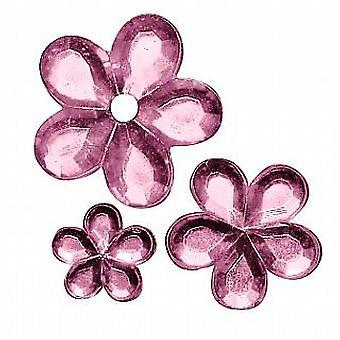 310 geassorteerde roze bloem gevormde acryl Strass voor ambachten