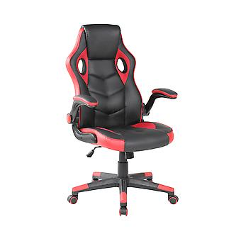 Game office chair - red with black - faux leather - luxury armrests