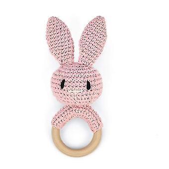 Kaninchen Baby Rassel Handgemachte Block Häkelbett Bell Spielzeug (Rosa)