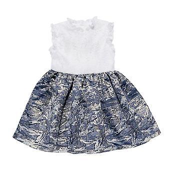 Rüschen Ausschnitt Jacquard Kleid