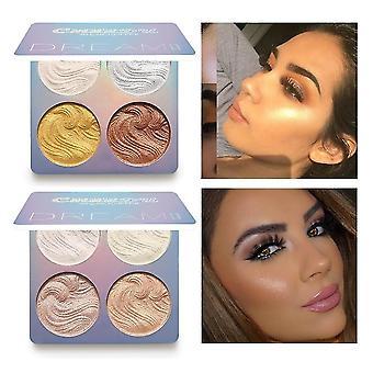 Muzxr-body hair glitter 4color face highlighter palette bronzer contouring highlight powder makeup face shimmer shine high lighter