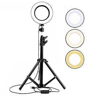 Selfie Flash Dimmable 6'' LED Ring Light With Tripod Stand Phone Holder & Bag