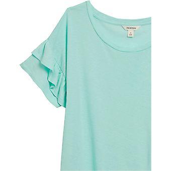 Märke - Goodthreads Kvinnors Linne Modal Jersey Kortärmad Crewneck Ruffle Sleeve T-Shirt