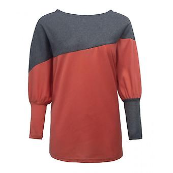 Sweater Long-sleeved T-shirt Loose Plus Size Women's Stitching Red