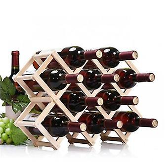 قابل للطي زجاجة نبيذ خشبي حامل النبيذ رفوف يحمل