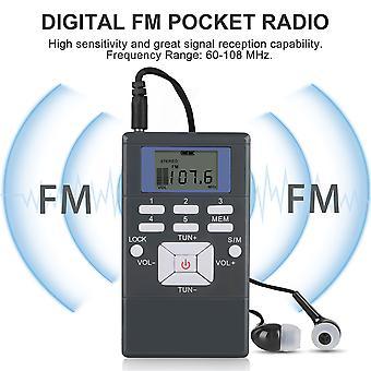 Mini radio fm portable avec écouteur et écran de verrouillage, radio de poche fm personnelle à piles - petite radio de poche - mini tuning numérique Walkman Rad