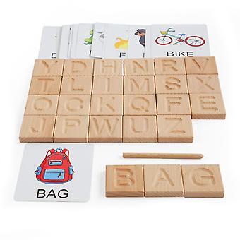 木製の大きな印刷物手書きボード、モンテッソーリ教育Abcのおもちゃ教師のお菓子や誕生日プレゼント