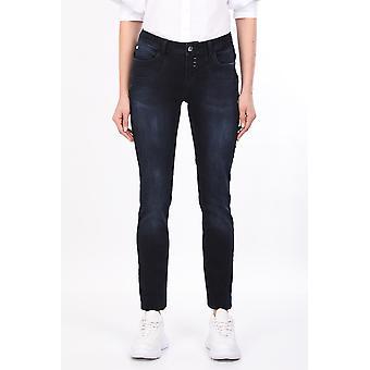 Marineblå lomme detaljerte kvinners jean bukser