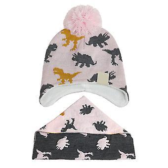 Silktaa Lasten painettu Pompon neulottu hattu ja huivi kaksiosainen setti