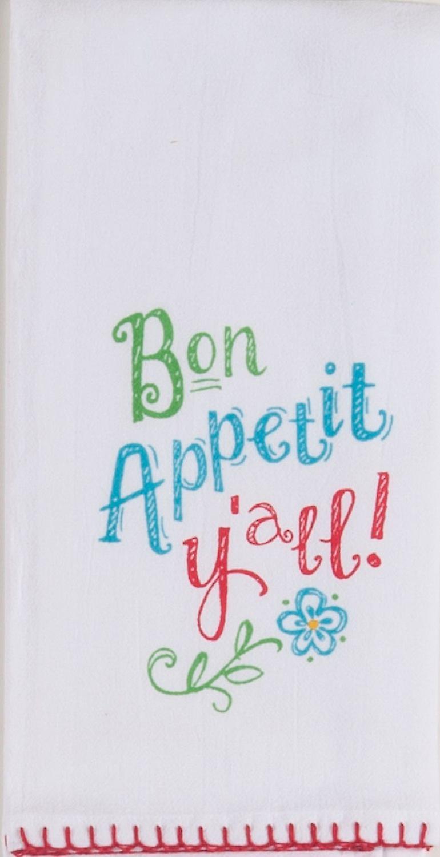 Bon Appetite Yall Krinkle Flour Sack Kitchen Dish Towel