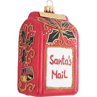 Santas Mail Postal Box With Poinsettias Christmas Holiday Ornament Glass