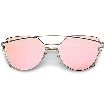 Premium Metall Pilotenbrille mit Querstange und farbige Spiegel Objektiv 54mm