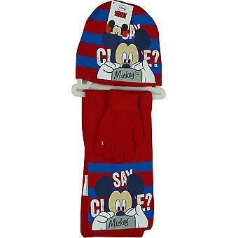 ディズニー ミッキー マウス少年冬 3 個セット帽子、手袋・ スカーフ