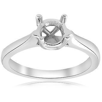 14K λευκός χρυσός Καθεδρικός Ναός πασιέντζα mount δαχτυλίδι αρραβώνα ρύθμιση