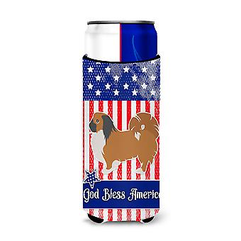 USA Patriotic Pekingese Michelob Ultra Hugger for slim cans