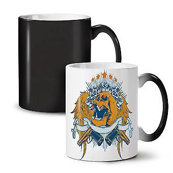 Rose broń czaszka skrzydła nowy czarny kolor zmiana herbata kawa ceramiczny kubek 11 oz | Wellcoda