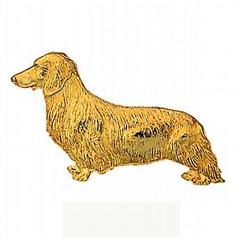 9ct Gold 11x39mm long haired Daschund Brooch