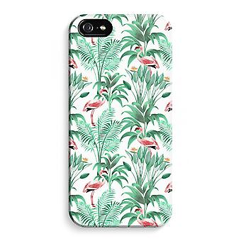 iPhone 5 / 5 sek / SE Full Print saken (glanset) - Flamingo blader