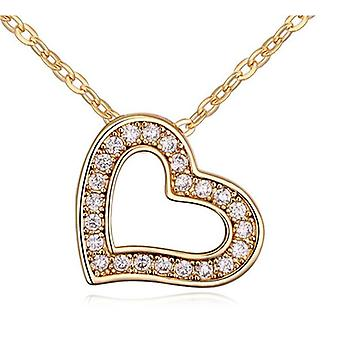 Womens Love Heart Pendant Necklace With Encrusted Crystal Stones Rose BG1305