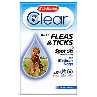 Bob Martin Clear Spot On Solution 1 x 134mg for Medium Dogs, Kills Fleas & Ticks