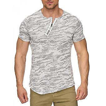 Menns skjorte Pachted Oversize Melange langarma Slim strukturen Longshirt Melange