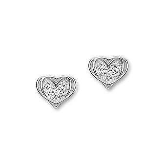 Sterling sølv tradisjonelle kjærlighet hjerte formet Design par øredobber - E1812