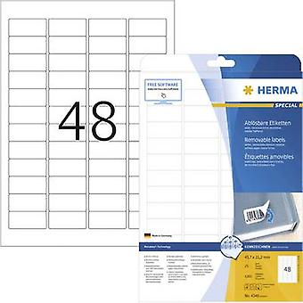 Herma 4346 Labels 45.7 x 21.2 mm Paper White 1200 pc(s) Removable All-purpose labels Inkjet, Laser, Copier 25 Sheet A4