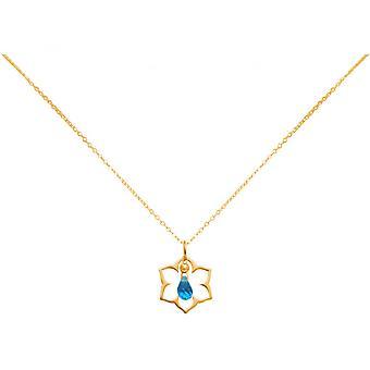 Dames - goutte Collier - pendentif - argent 925 - plaqué or - fleur de Lotus - mandala - quartz topaze - - bleu - YOGA - 45 cm