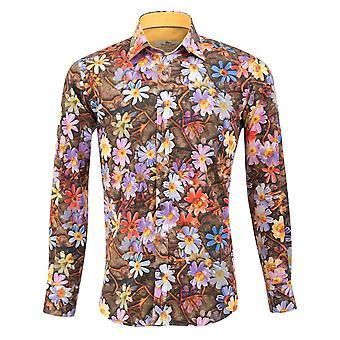 Claudio Lugli Purple Floral Print Mens Shirt