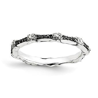 925 Sterling Silver Polished Prong set Patterned Rhodium plated Stackable Expressions Black and White Diamond Ring Jewel