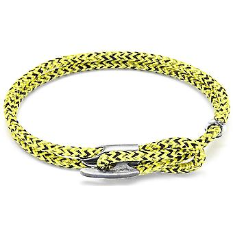 Anchor and Crew Padstow Silver and Rope Bracelet - Yellow Noir