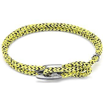 Horgony és a legénység Padstow Silver és a Rope karkötő-sárga Noir