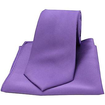 David Van Hagen sateng slips og Pocket Square Set - lilla
